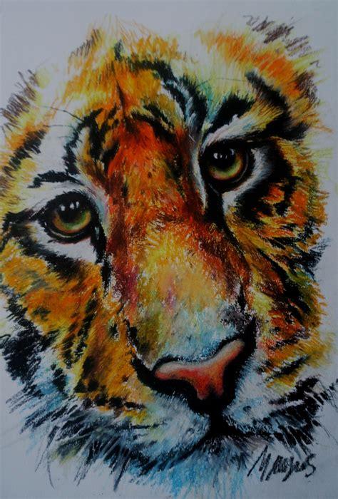 michelle myers art tiger oil pastel study arts