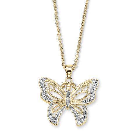 accent 18k gold plated filigree butterfly pendant with cable chain 18 quot at palmbeach jewelry
