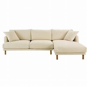 Canapé Droit 5 Places : canap d 39 angle droit 5 places en coton et lin beige ~ Melissatoandfro.com Idées de Décoration