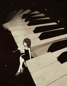 anime girl on piano. I love this so much. It looks magical ...