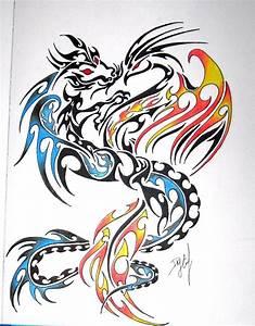 Colorful Tribal Phoenix & Dragon Tattoo Design