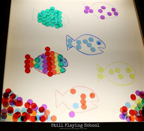 fish color matching   light table  playing school