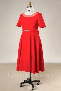 modest scoop neck short sleeve red satin  size evening