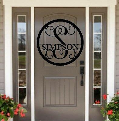 metal monogram door hanger family  sign custom   front door wreath ebay