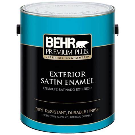 behr premium plus 1 gal ultra white satin enamel exterior paint and primer in one 905001