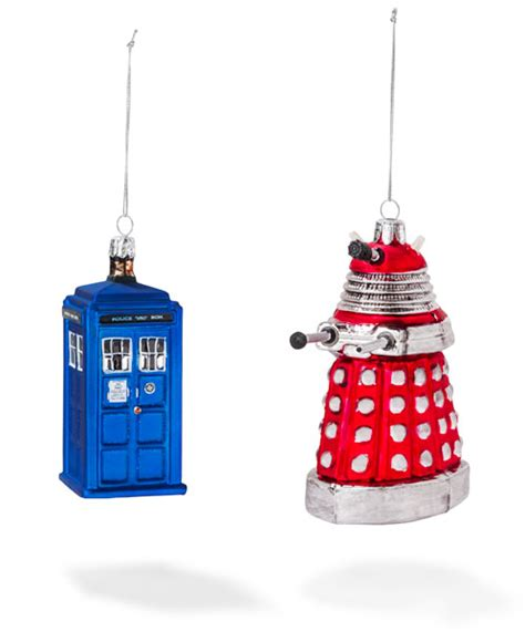 doctor who christmas tree ornaments doctor who tardis dalek and cyberman tree ornaments global news