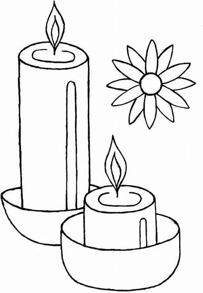 Diwali Coloring Candles Candle Celebrate Drawing Template