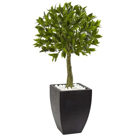 Nearly Natural Bay Leaf Topiary With Black Wash Planter Uv