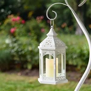 Lanterne Solaire Exterieur : lanterne hexagonale en verre et m tal blanc h 34 cm avec ~ Premium-room.com Idées de Décoration
