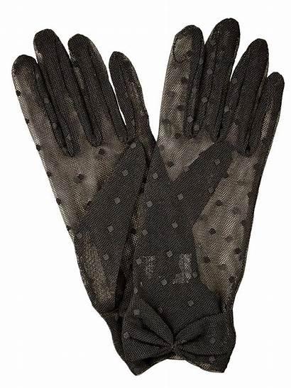 Gloves Tulle Dot Polka Dents Short Womens