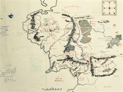 tolkien annotated map  middle earth  loose  copy