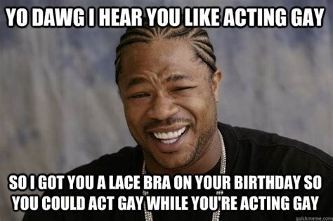 Gay Memes - yo dawg i hear you like acting gay so i got you a lace bra on your birthday so you could act gay