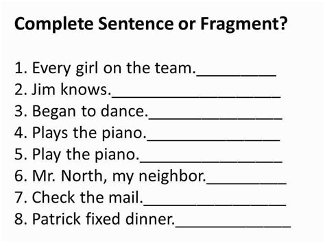 Sentence Fragment Worksheet Homeschooldressagecom