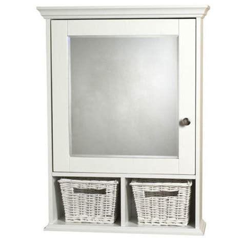 Bathroom Medicine Cabinets White by White Surface Mount Medicine Cabinet With Wicker Baskets