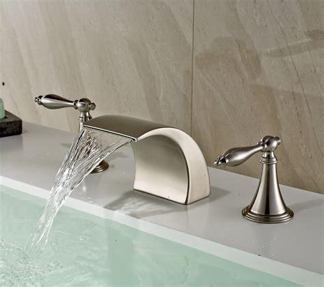 brushed nickel waterfall faucet widespread waterfall dual knobs bathroom sink faucet mixer