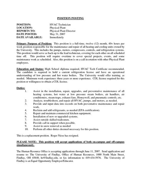 hvac resume objective template student resume template