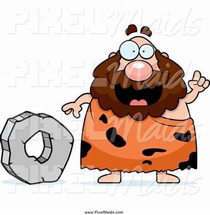 Caveman Wheel Stone Talking Clipart Chubby Thoman