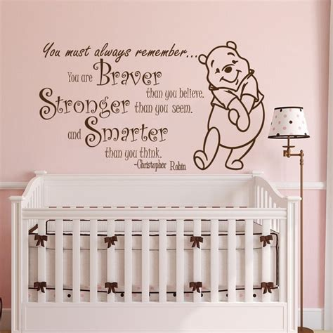 winnie  pooh quote wall sticker vinyl sticker decals quotes braver stronger smarter wall