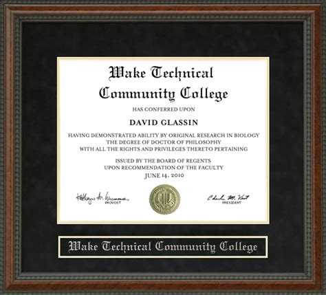 wake technical community college wake tech diploma frame