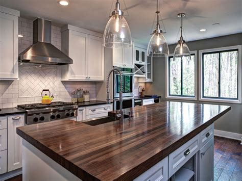 Custom Walnut Butcher Block Island Top Interior Designs