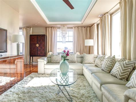 custom sectional  chevron pillows  living room hgtv
