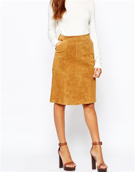 warehouse skirts warehouse real leather suede mini skirt in brown lyst