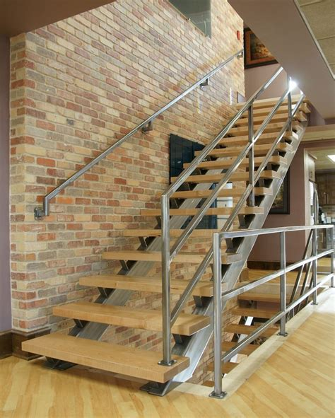 hand crafted modern steel  wood staircase  kitchen