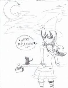 Happy Halloween Uncolored By Greenbaka On Deviantart