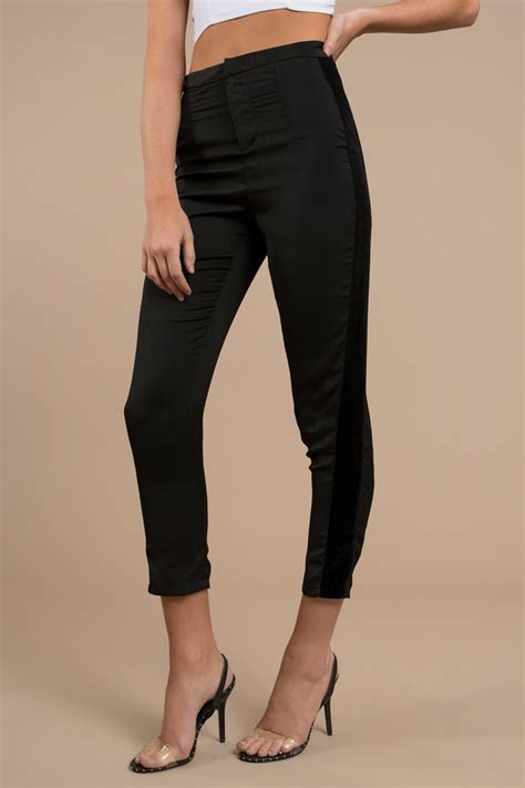 Stylish Black Pants Velvet Satin High