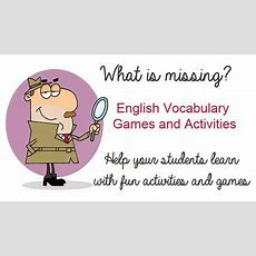 "Free English Lesson Plans  ""what's Missing?""  English Vocabulary Game  Help Your Students"