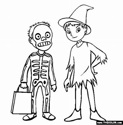 Halloween Coloring Costume Pages Costumes Characters Boy