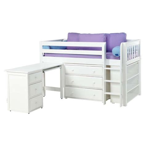 box low loft bed with dressers desk and bookcase