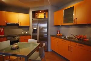 cuisine orange photo 7 10 meubles de cuisine gris et With cuisine orange et gris