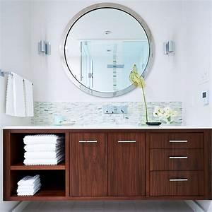 30 beautiful midcentury bathroom design ideas With kitchen cabinets lowes with small round mirrors wall art