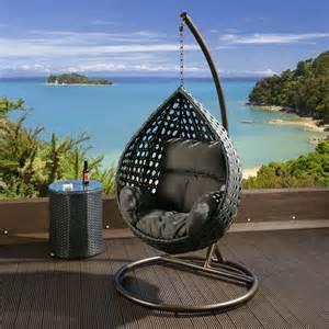 luxury outdoor garden hanging chair black rattan grey