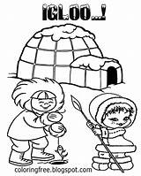 Coloring Printable Frozen Igloo Ice Eskimo Fishing Shelter Snow Arctic Drawing Craft Icecap Northlands Teenagers Round Take sketch template
