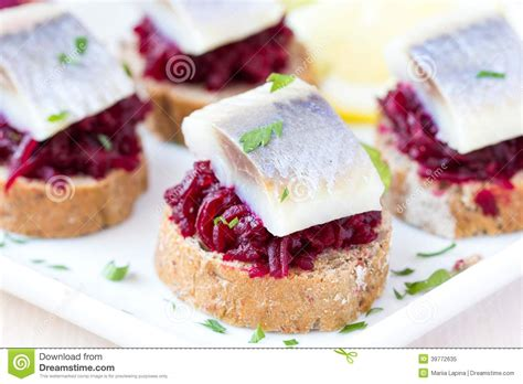 canape toast canape herring with bees on rye toast tasty starter