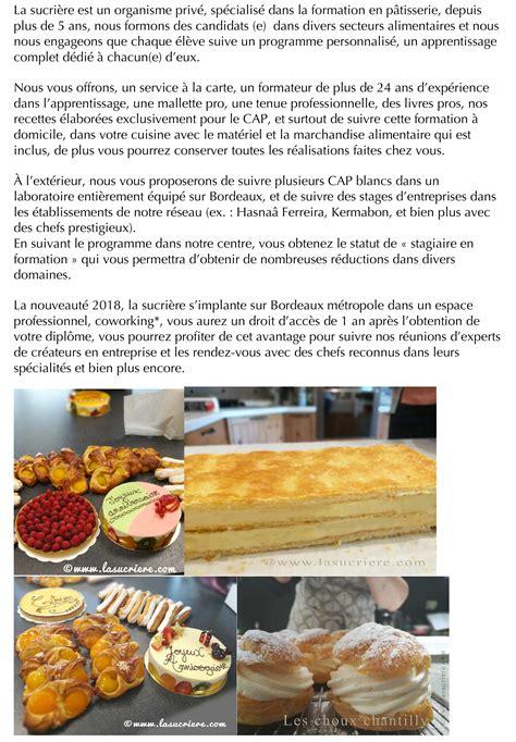 formation courte cuisine adulte la sucrière centre de formation en pâtisserie formation