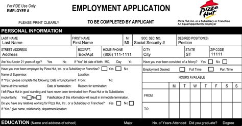 applications cuisine pizza hut application printable employment forms