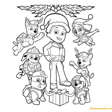 Paw Patrol Christmas Ryder Coloring Page Free Coloring