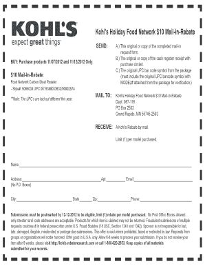 kohls original rebate receipt fill online printable