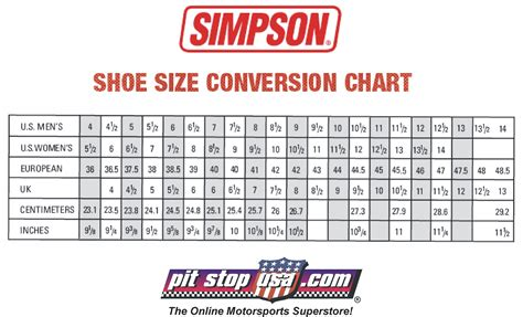 sizing chart simpson auto racing shoes