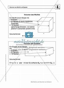 Prismen Berechnen 8 Klasse : k rper oberfl che und volumen von w rfel und quader infotexte differenzierte aufgaben ~ Themetempest.com Abrechnung