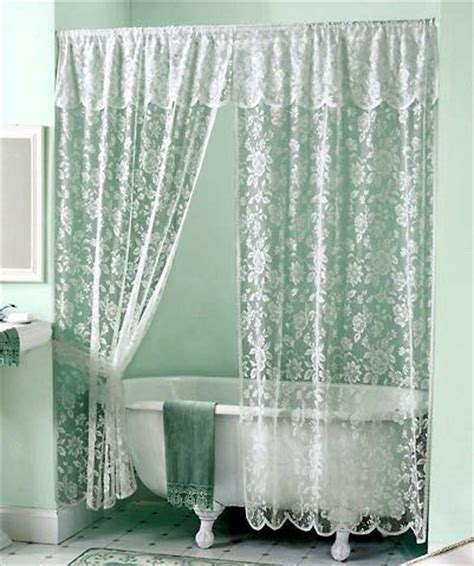 Vintage White Lace Shower Curtain & Valance Set New! Ebay