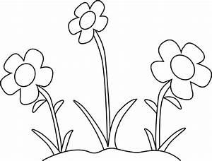 Black and White Flower Garden Clip Art