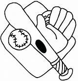 Baseball Coloring Bat Glove Printable Getcolorings Mitt sketch template