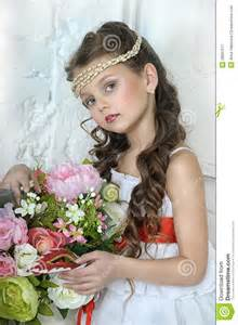 kid wedding dresses portrait of with flowers stock image image 28097511