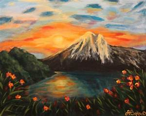 Images For > Sunset Mountains Painting | Lighting - Time ...