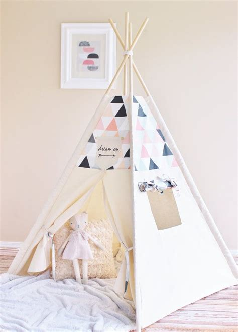 tipi fille ikea pink shaded triangles canvas tipi play tent