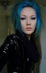 Goth Gothic Blue Hair Piercings Pinterest Hair Blue